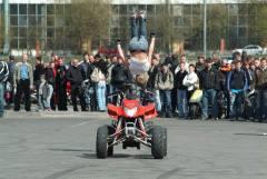 quad gets pavement, rider gets