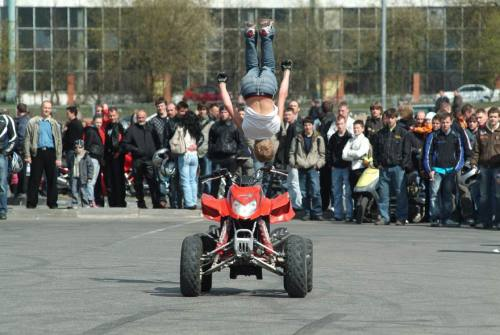 quad gets pavement, rider gets air